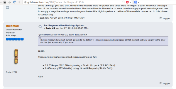 regenerative braking system discussion on Goldenmotor forum